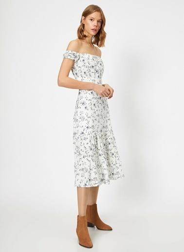 Koton Koton Çiçek Desenli Midi Beyaz Elbise Beyaz